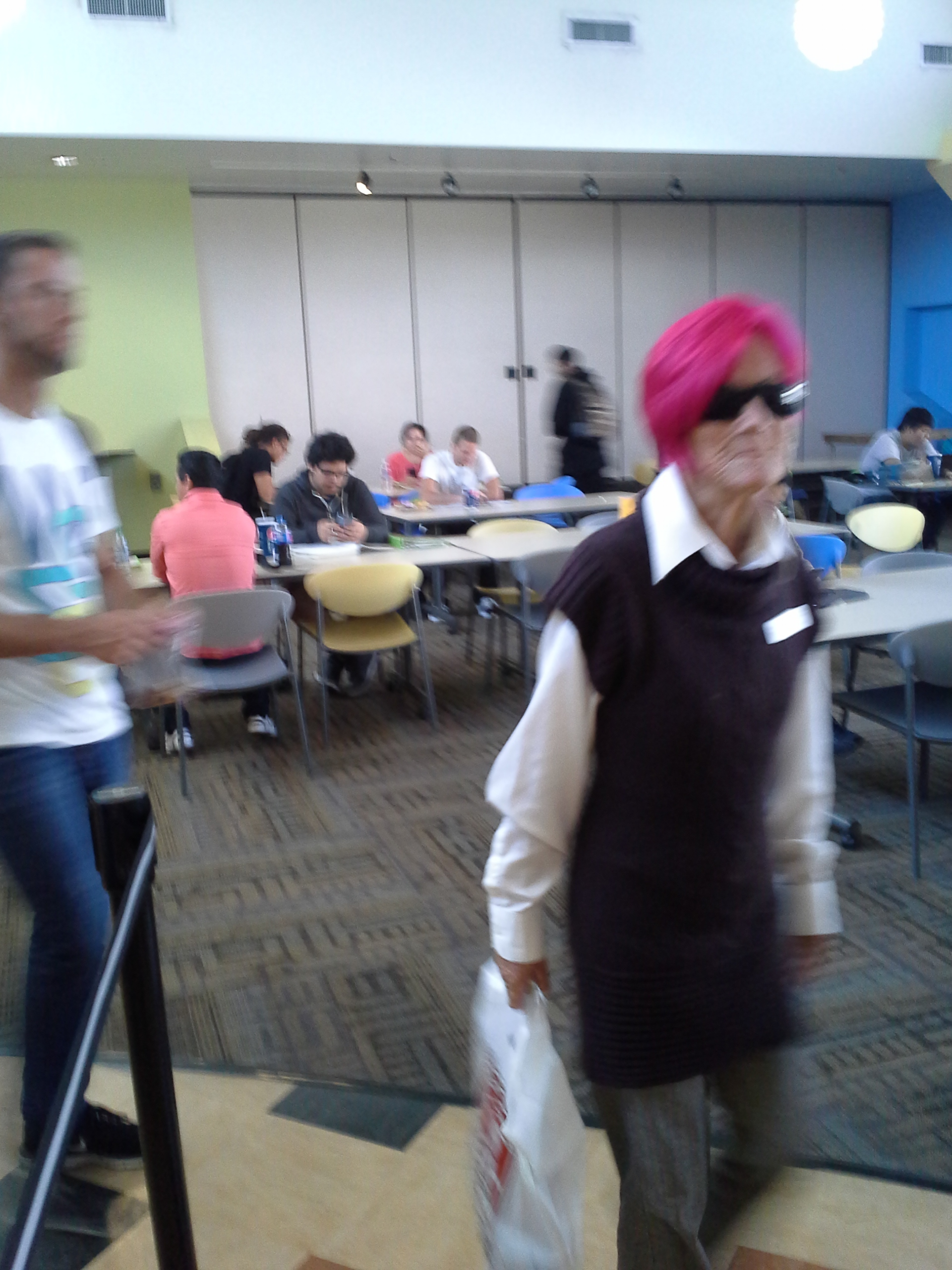 Pink-Haired Ancient Pro-Abort Blurs as she passes our Social Media Director, who caught a quick-shot of her on her mobile phone cam!