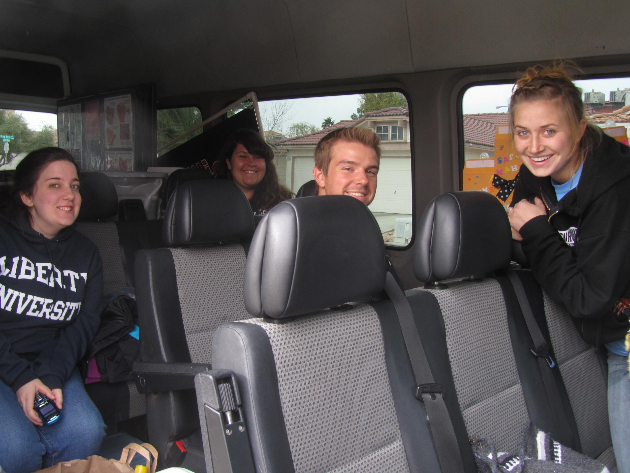 Inside the Sprinter, our baby-saving bus!