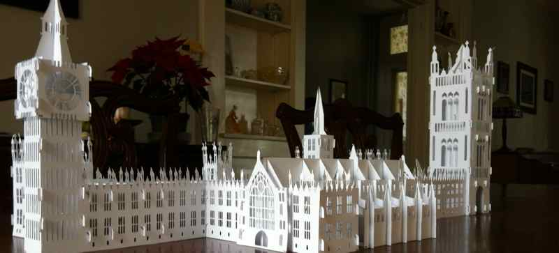 William's paper model of the Westminster Palace.