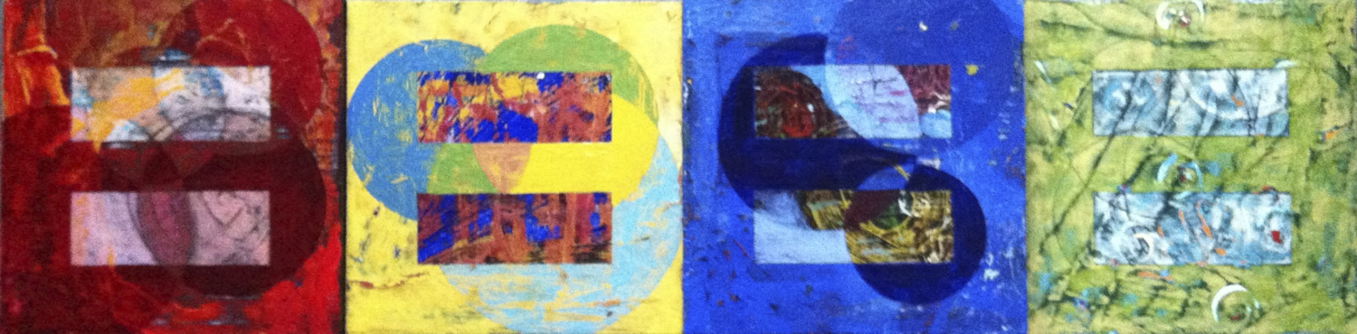 The Four Humors of Sometime Soon, 2013, polyptych, oil on wood panels. 61X15.25 cm.