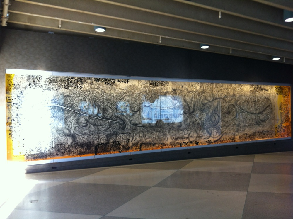 This is my friend Paul Santolari's mural that is on display at terminal E of the Philadelphia Airport.