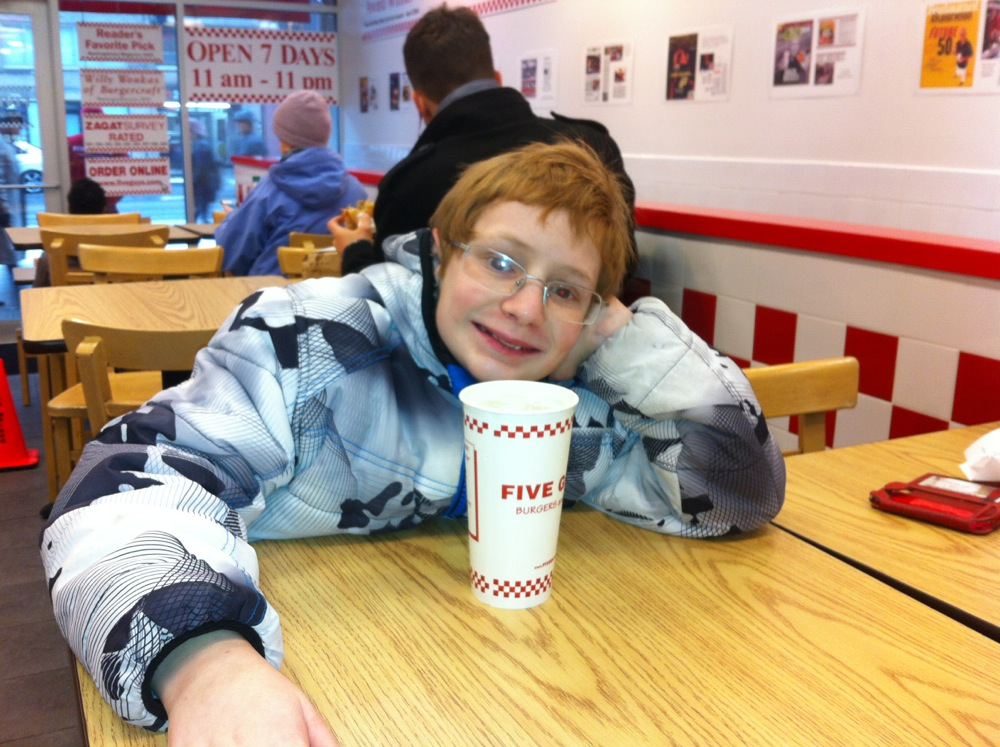For William's 13th Birthday, Mary, William and Paddy went to Uncle Kevin and Uncle Rico's for the weekend. Of all the great places to eat in the Big Apple William chose Five Guys. I can't say that I would have done differently.