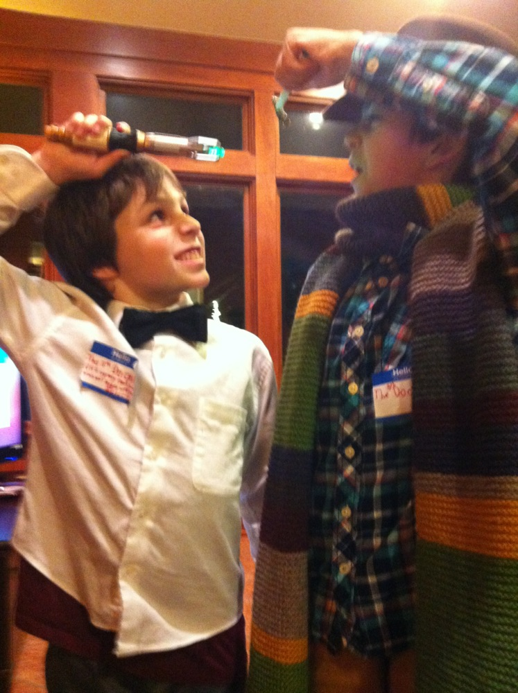 The Fozard's hosted the neighborhood Christmas Party. Paddy and Louie were various and sundry Dr. Who's.