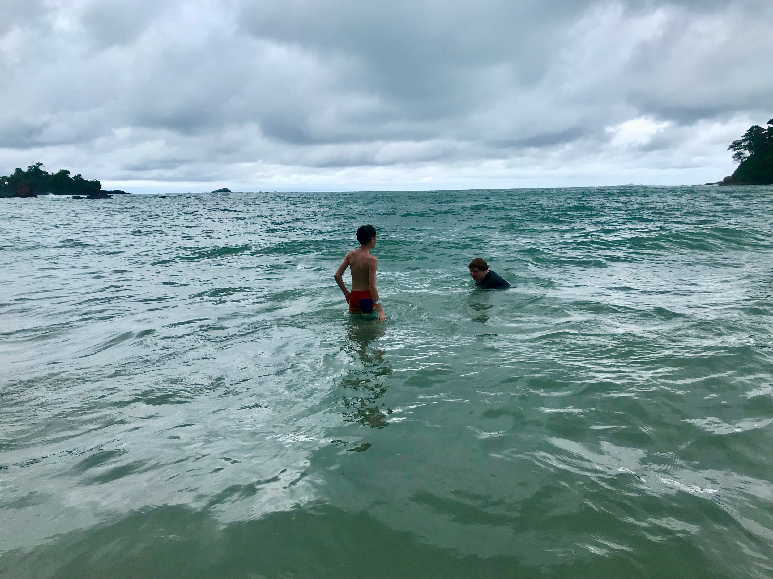 Swimming in the Pacific.