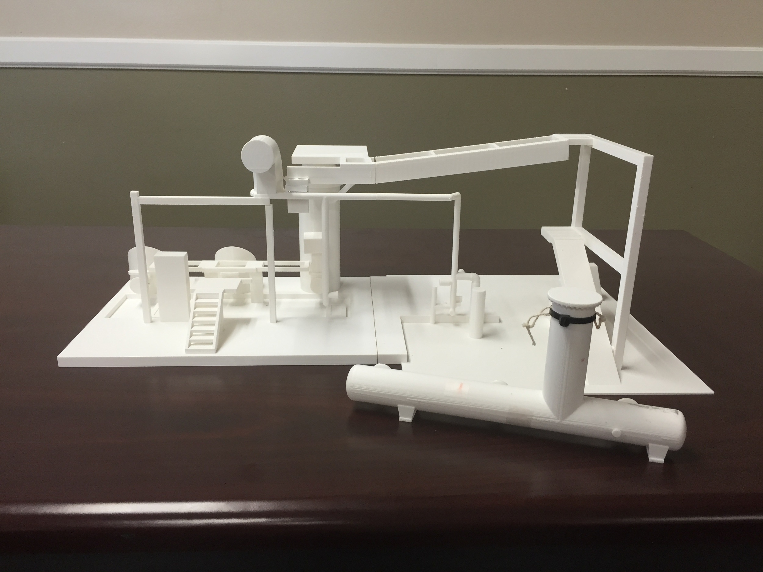 3D print of refinery assets, developed from 3D laser scans & models, used to rehearse extraction plan.