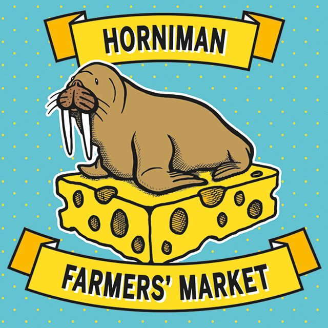 Our identity for Horniman Farmers' Market. The museum's over-stuffed walrus is its most popular exhibit - we swapped its iceberg for a cheese-berg and the rest is history. #hornimanmuseumandgardens #hornimanfarmersmarket #brandidentity #walrus #hornimanwalrus