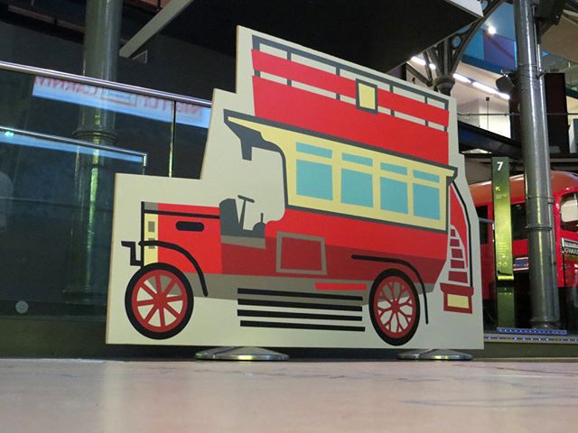 Large-format B-type bus for London Transport Museum #londontransportmuseum #londonbus #btypebus #busillustration #chutneychorus #largeformatgraphics #largeformatprinting #exhibitiondesign