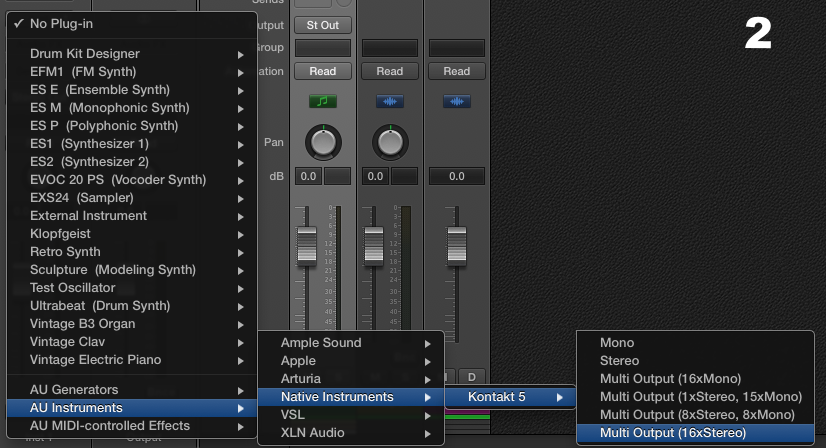 Next, instantiate an instance of the Multi Output Kontakt plugin.