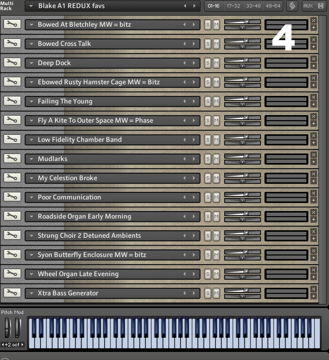 Here you can see the 16 patches I've loaded for this particular Kontakt instance.