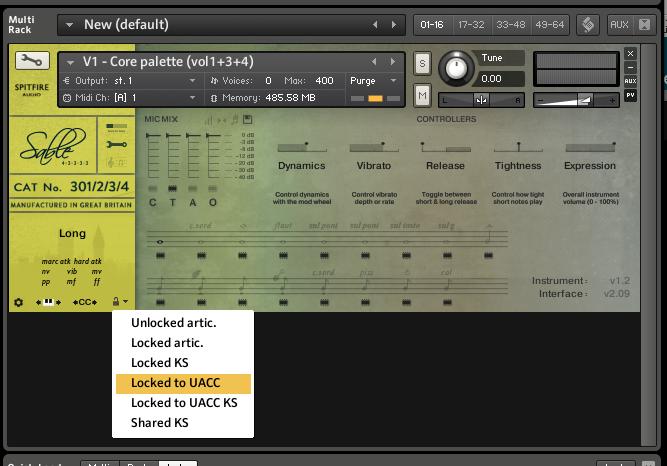 "Kontakt Performance View - Select ""Locked to UACC"" for proper functioning."