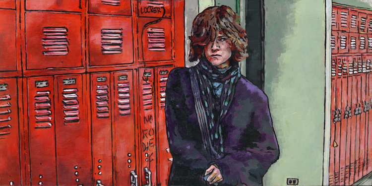 """The Breakfast Club"" -Allison (Basket Case) Reynolds in The Breakfast Club  Acrylic on Wood 24x12  Allison is a marginalized character in The Breakfast Club. She lashes out and keeps people at a distance, sitting in all-day detention by choice. Her peers call her Basket Case- she is ignored by her parents, left out of the conversation by her peers, and she sits neglected and unwashed. As the characters develop, Allison lets down her defenses and allows Claire to do her makeup. She shows her vulnerability, finally allowing herself to be seen. Claire sees through her dark exterior, revealing the beauty underneath."
