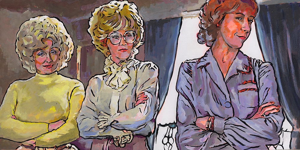 """Pink Collar Ghetto"" -9 to 5  SOLD   Acrylic on Wood 24x12  9 to 5 is a workplace comedy featuring Dolly Parton, Lily Tomlin and Jane Fonda. The plot centers around 3 named women (Doralee, Violet & Judy) and their sexist, egotistical, lying, hypocritical bigot boss, and it passes the Bechdel test as the women discuss many issues, including the merits of recreational marijuana.  They take their boss hostage and make some revolutionary changes at work- flexible schedules and a job-sharing program, set up a daycare center and ensure equal pay, creating a pleasant and efficient work environment in the process. These are still radical ideas all these years later, and most women in 2016 would kill to be working only from 9-5."