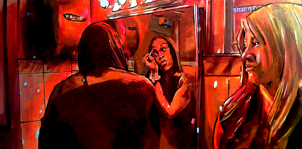 """Tonight's All About You"" -Sin-Dee and Alexandra in Tangerine  Acrylic on Wood 24x12  Two trans women of color travel across their Hollywood neighborhood on Christmas Eve, discussing their lives as sex workers. Sin-Dee is bent on revenge, after learning her boyfriend cheated on her while she was in prison. Alexandra, the calmer of the two, follows Sin-Dee with loving exasperation and begs her not to cause any drama before her upcoming cabaret performance.  Sin-Dee drives this film forward in her no-bullshit, high heeled, larger than life storm across town, while Alexandra pays a doorman to let her sing on stage, slowing the film down to a thoughtful and somber outpouring of feeling. We see their vulnerability, their strength and their resilience."