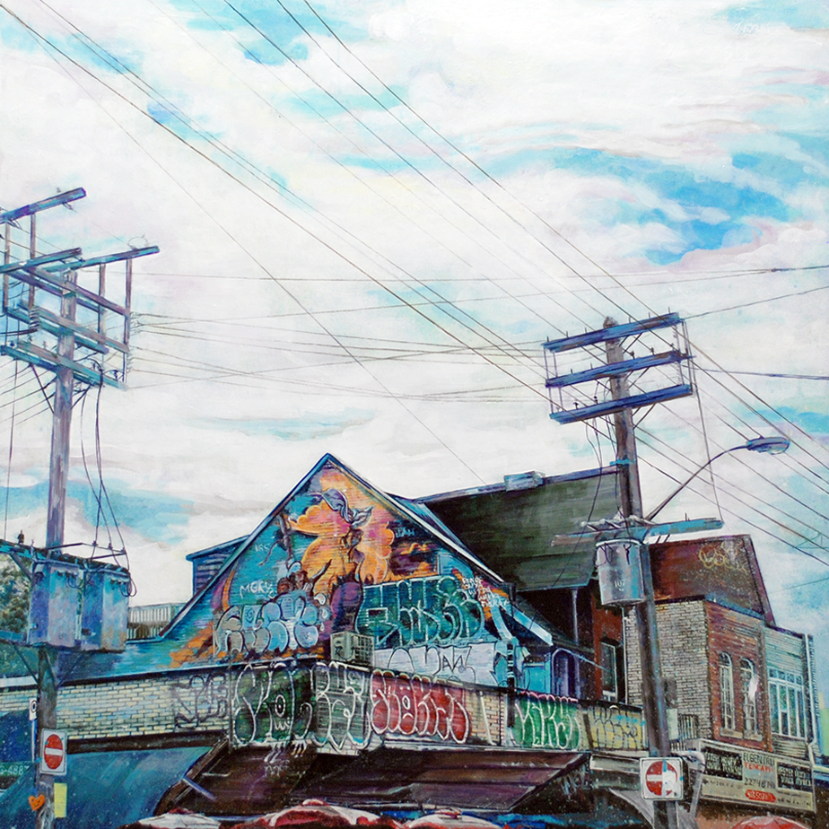 Kensington Market Soul, Acrylic on Wood 30x30 inches
