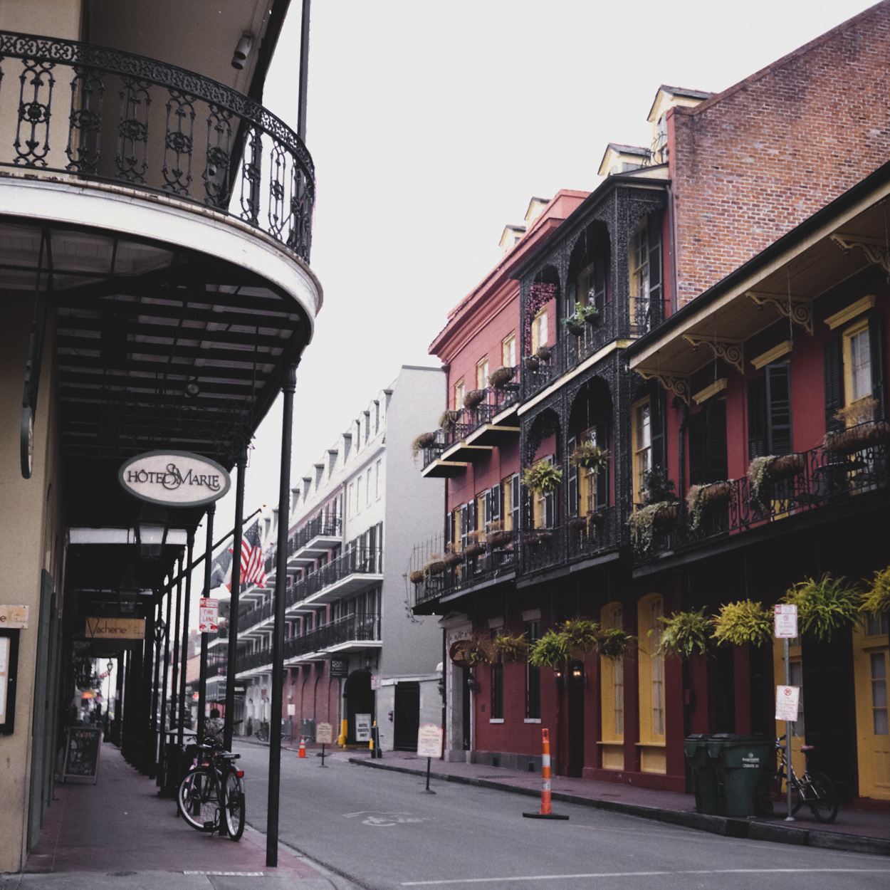 A city scape of the French Quarter, the architecture and colours are beautiful
