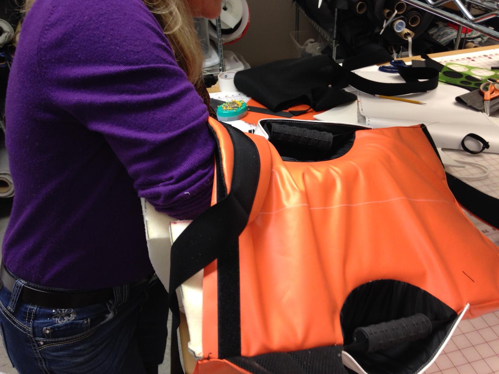 Stuffing foam buck into sewn pattern