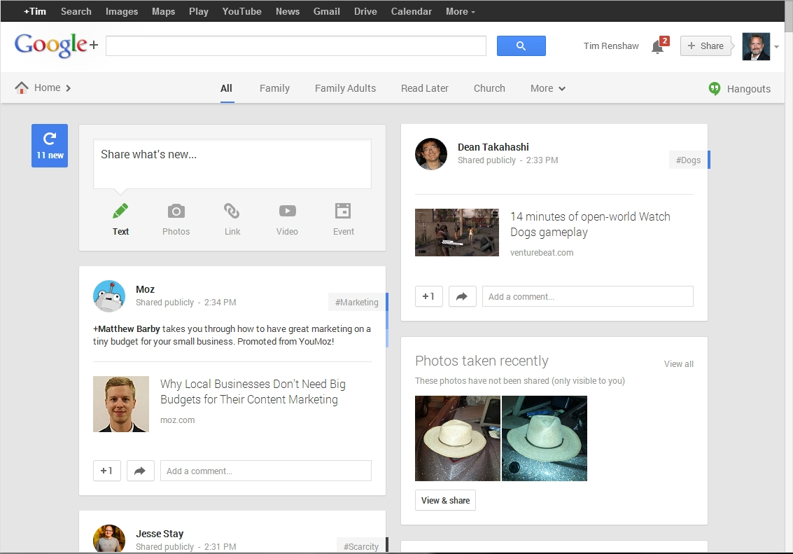 Google+: clean, large type, good use of space.