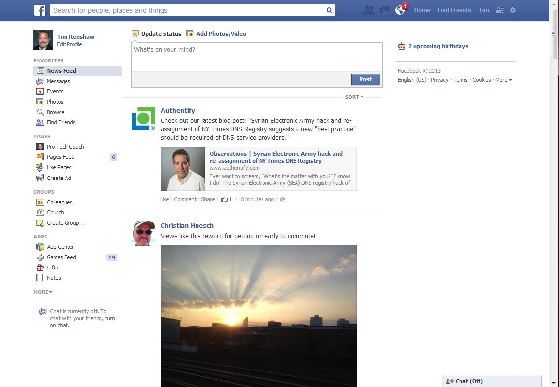 Facebook: cluttered, tiny print, wasted space.