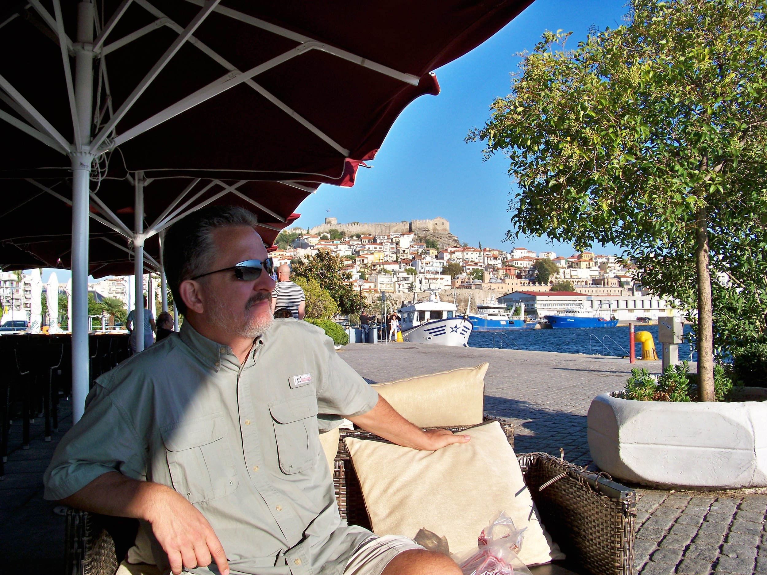 Coffee in Kavala watching shrimp boats depart