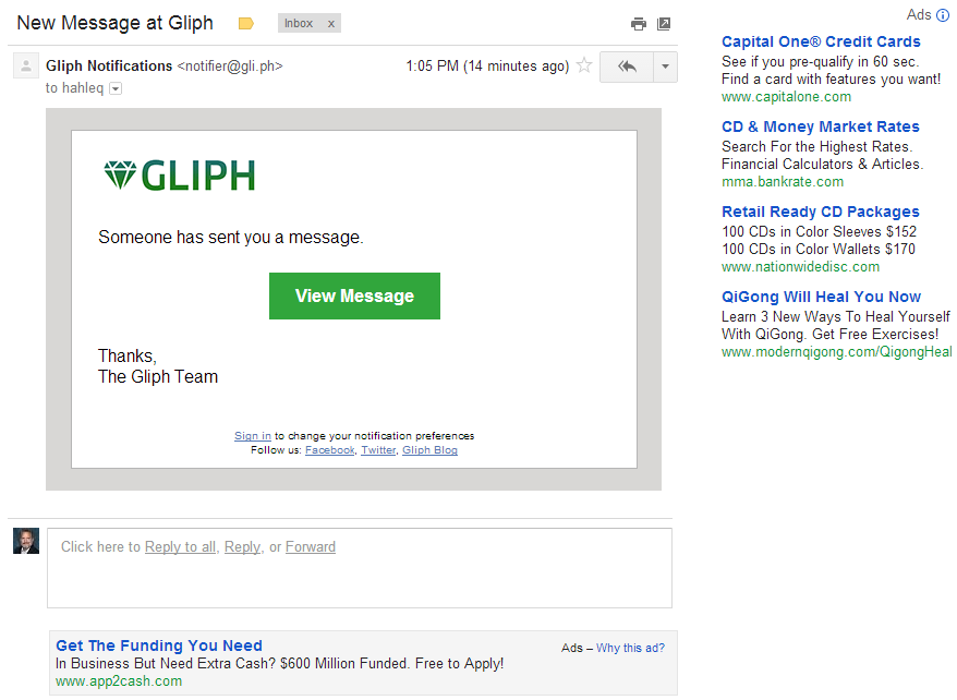Gliph Gmail with ads - before.png