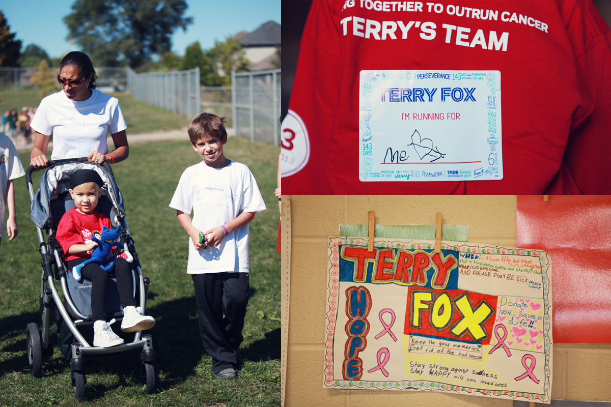 Desiray got to participate in her school's Terry Fox run with her cousin Kruz.  At the time she was dealing with a lot of nerve damage to her legs.  She didn't walk for a few weeks at one point.