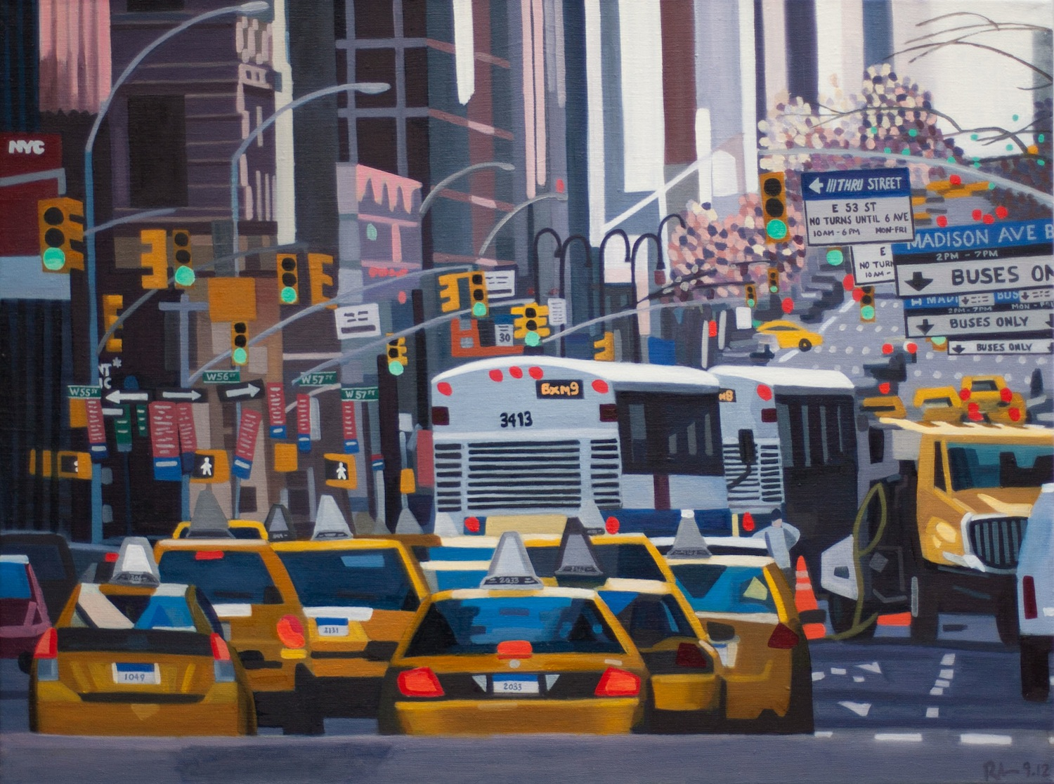 "55th and Madison - oil on linen - 24"" x 30"" - 2012"