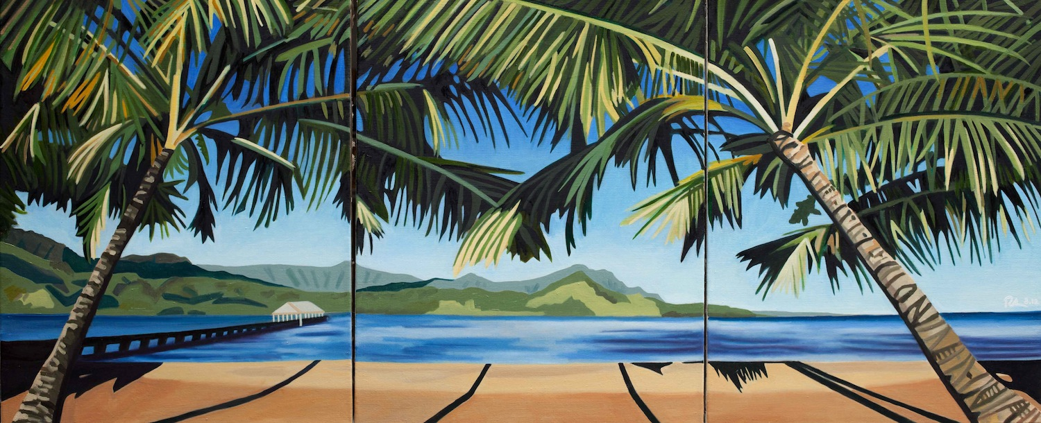 "Hanalei Bay - oil on linen - Triptych - three 24"" x 30"" canvases - 2012"