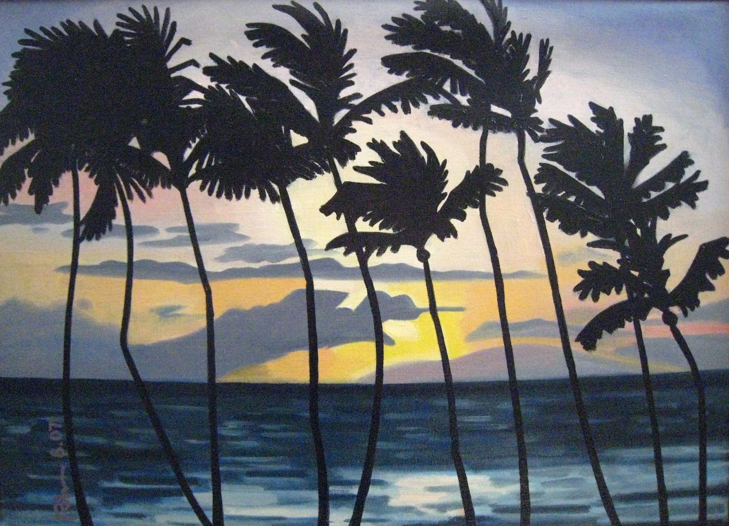 "Maui Sunset - oil on canvas - 16"" x 20"" 2007"