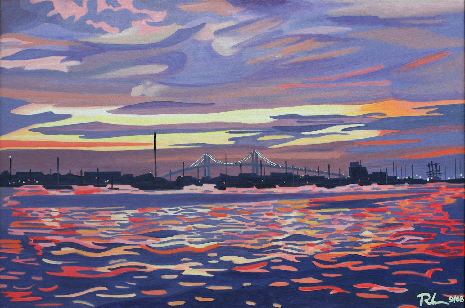 "Newport Bridge - oil on canvas - 24"" x 36"" - 2008"