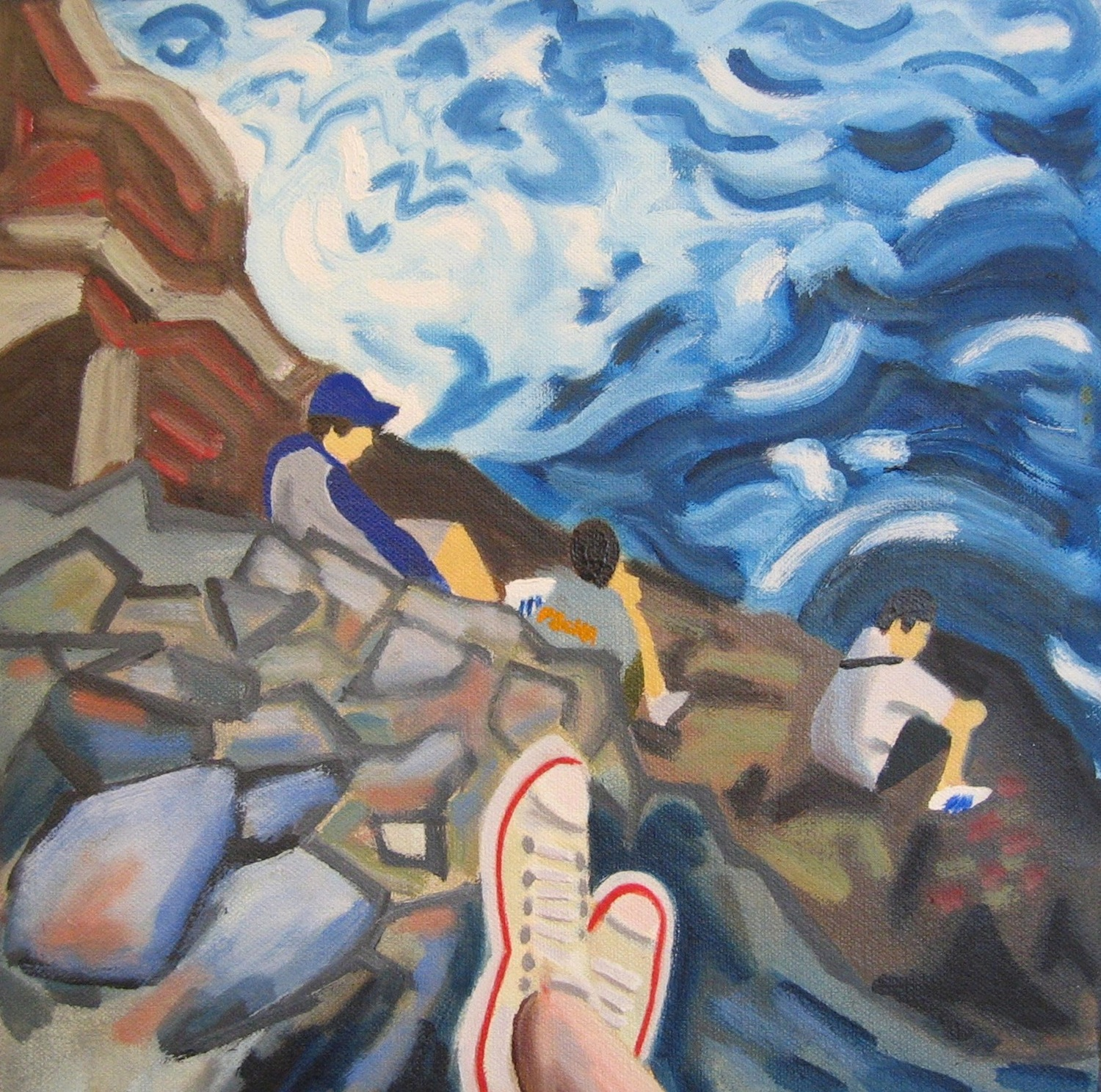 "Rhode Island Cliff Walk - oil on canvas - 12"" x 12"" - 2002"