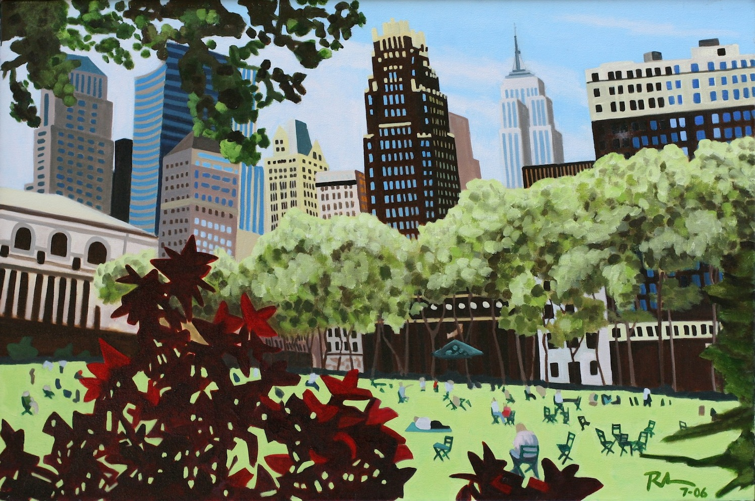 "Bryant Park - oil on canvas - 24"" x 36"" - 2006"