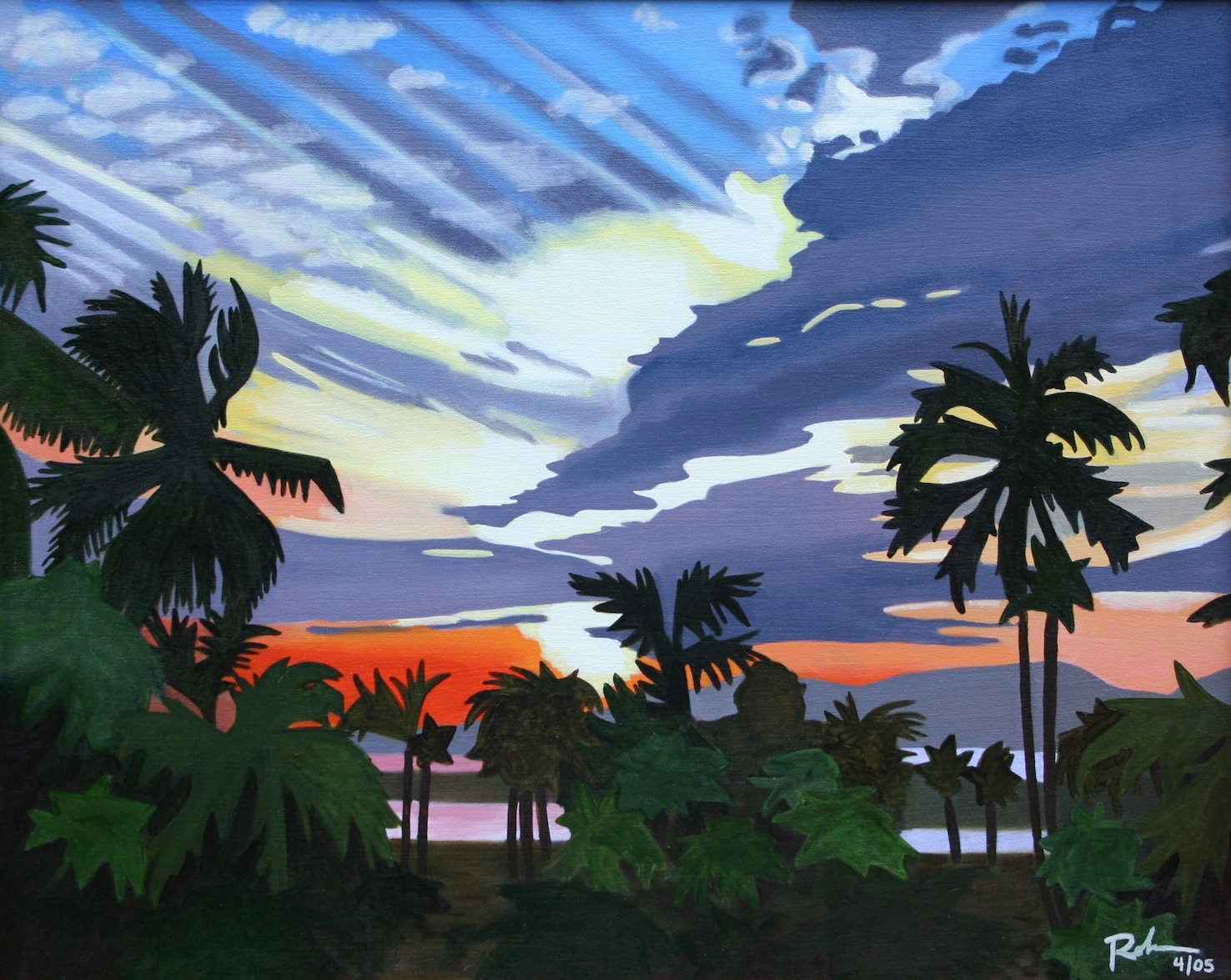"Sunset in Mexico - oil on canvas - 24"" x 30"" - 2005"