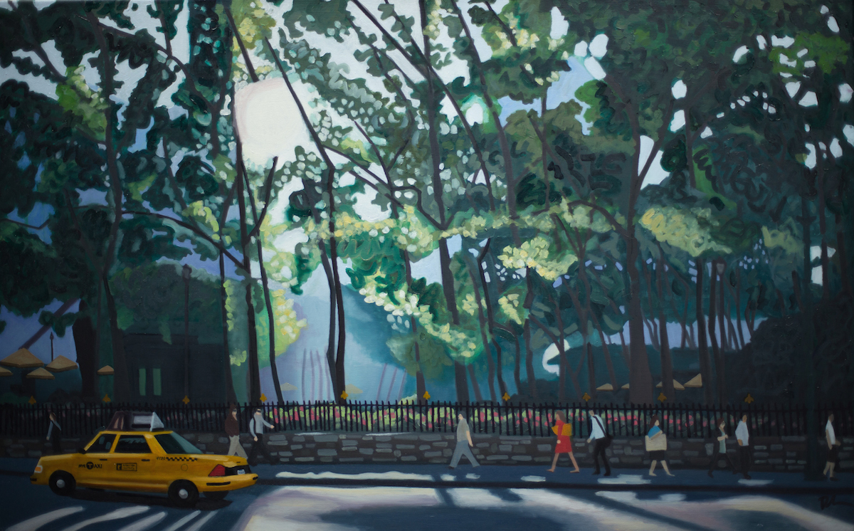 "Bryant Park 6th Ave - oil on linen - 30"" x 48"""