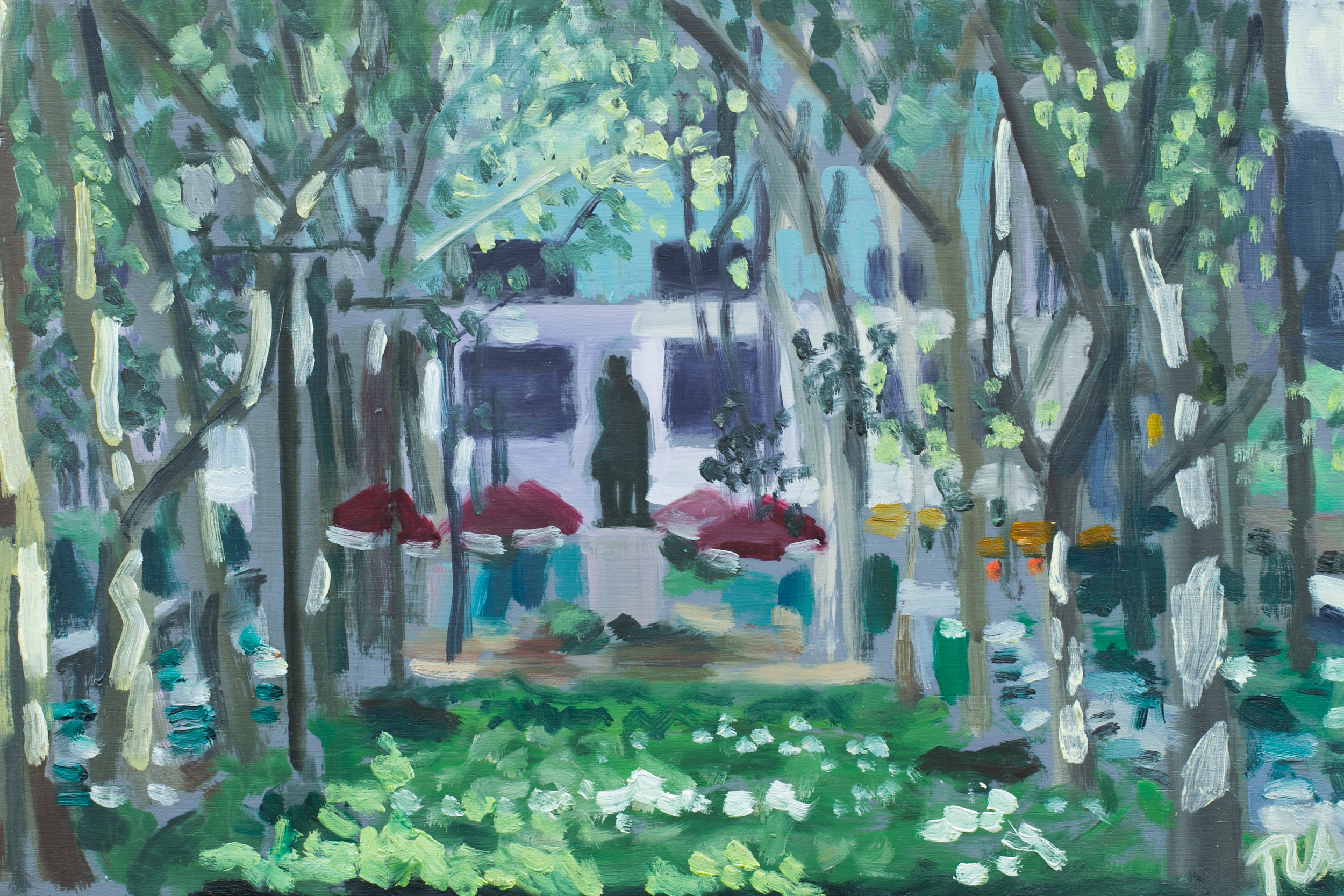 "Bryant Park #1 - May 9, 2016 - 8"" x 12"" - oil on panel"