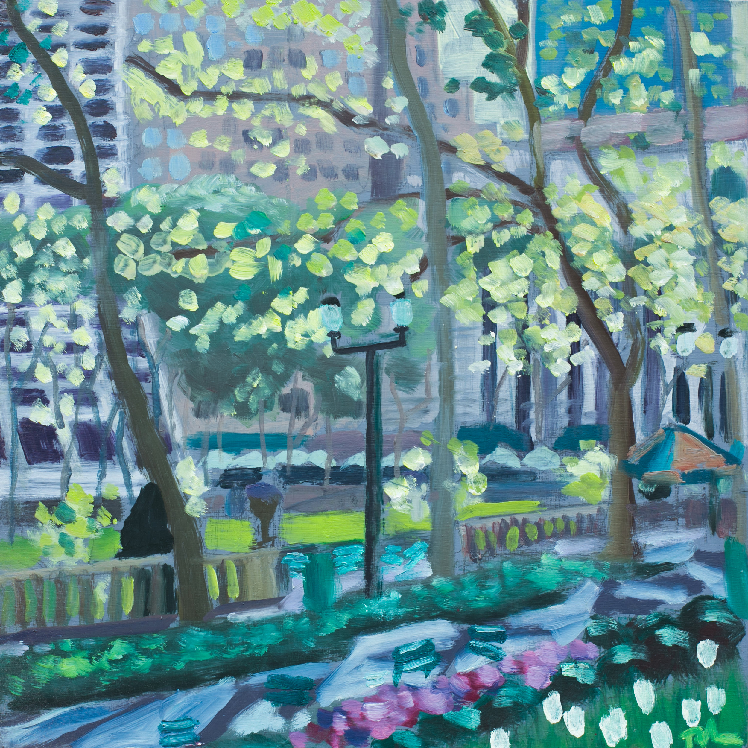 "Bryant Park #2 - May 10, 2016 - 12"" x 12"" - oil on panel"