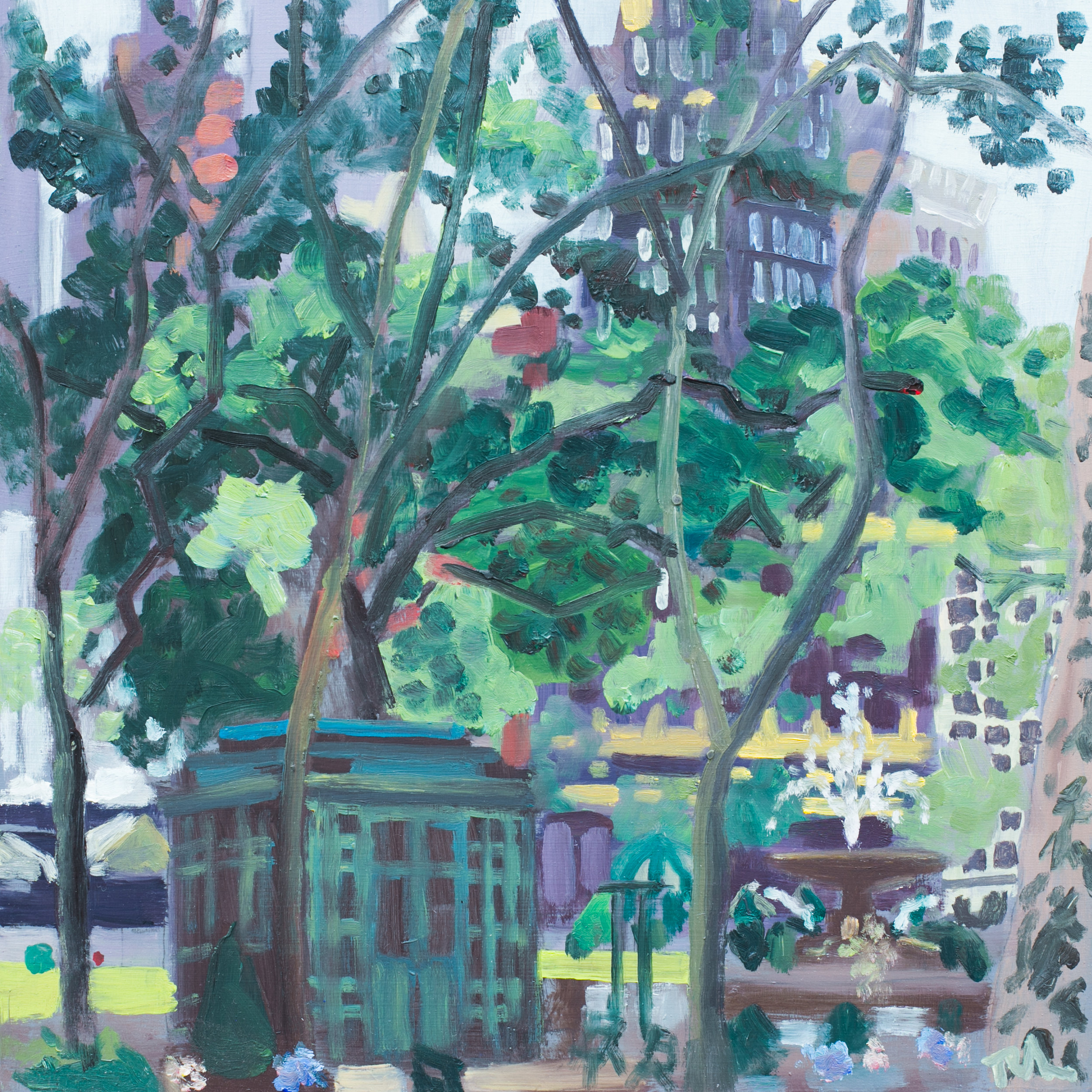 "Bryant Park #5 - May 18, 2016 - 12"" x 12"" - oil on panel"