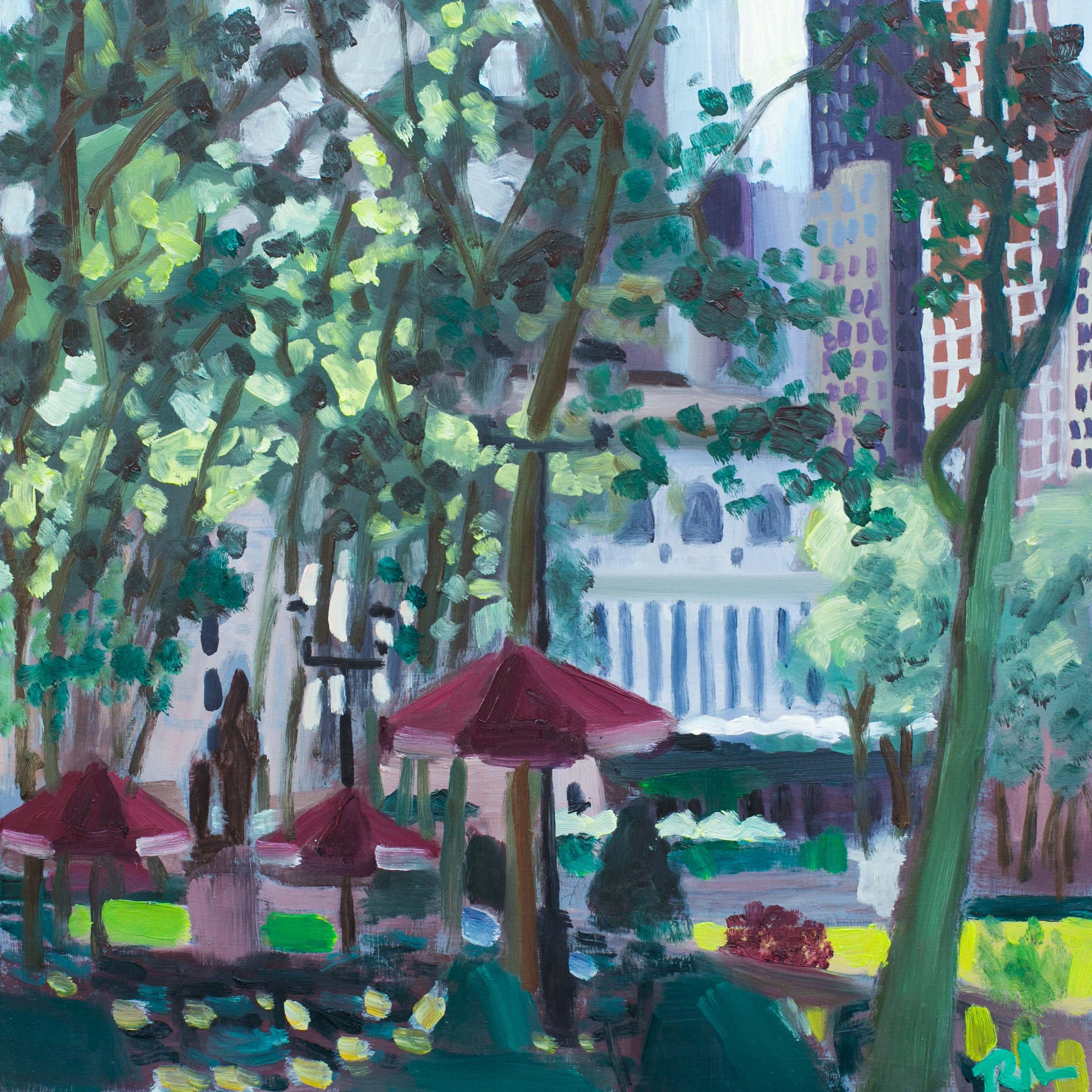 "Bryant Park #6 - May 20, 2016 - 12"" x 12"" - oil on panel"