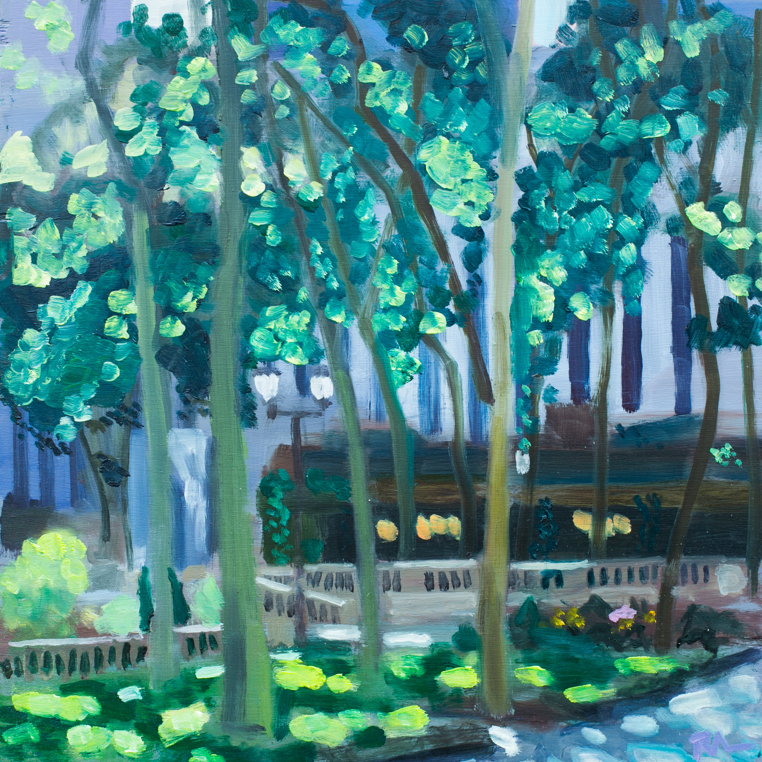 "Bryant Park #7 - May 23, 2016 - 12"" x 12"" - oil on panel"