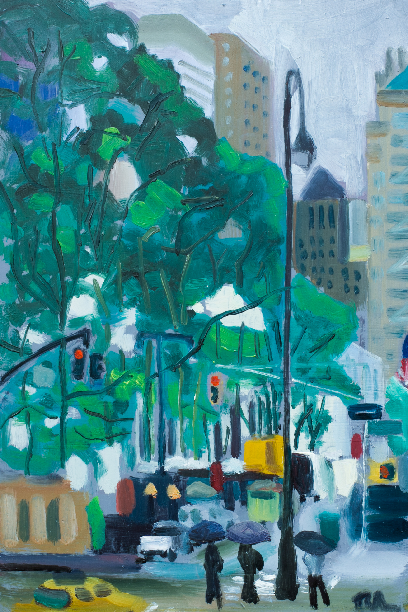 "Bryant Park #8 - May 24, 2016 - 12"" x 8"" - oil on panel"