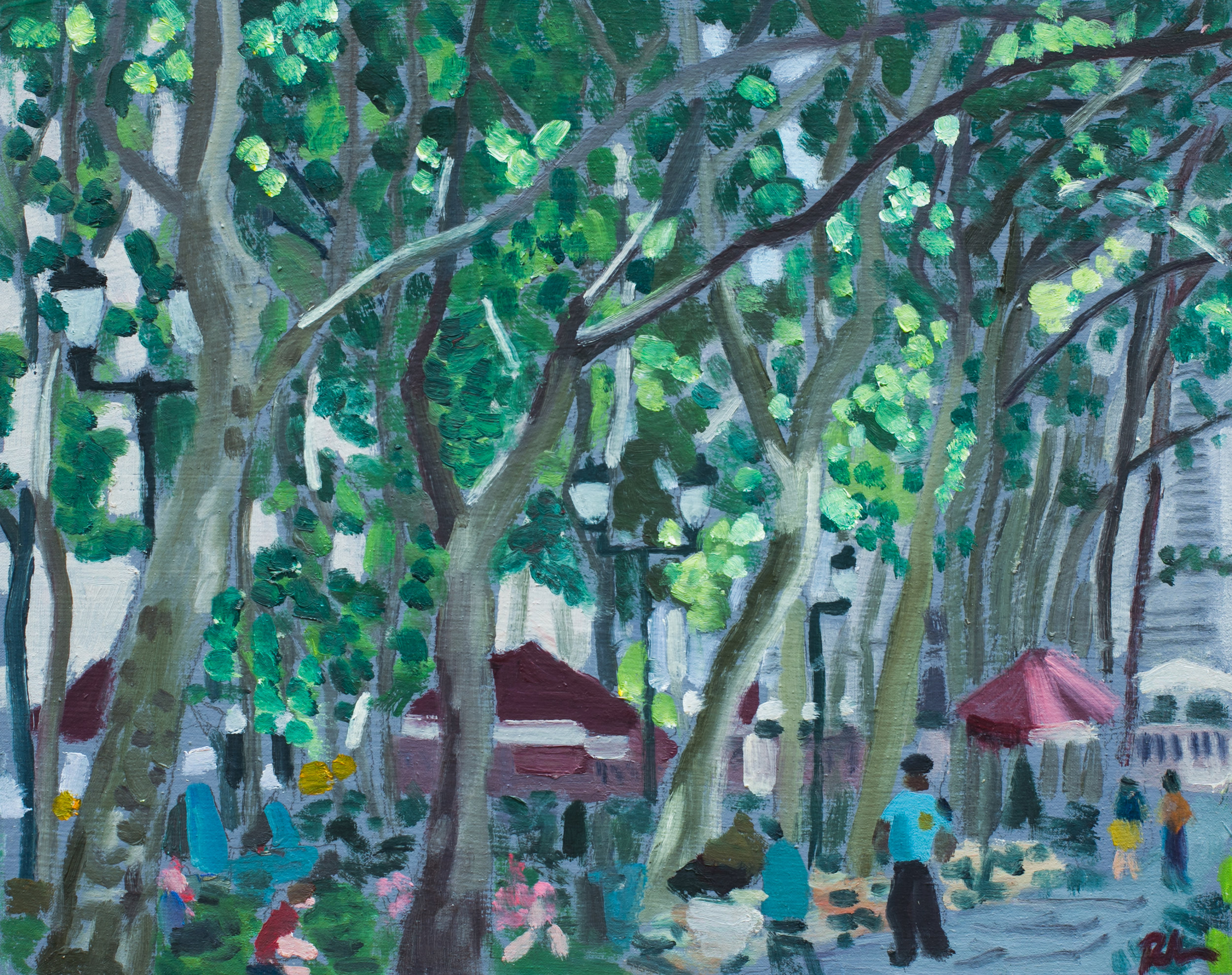 "Bryant Park #24 - July 8, 2016 - 9 1/2"" x 12"" - oil on panel"