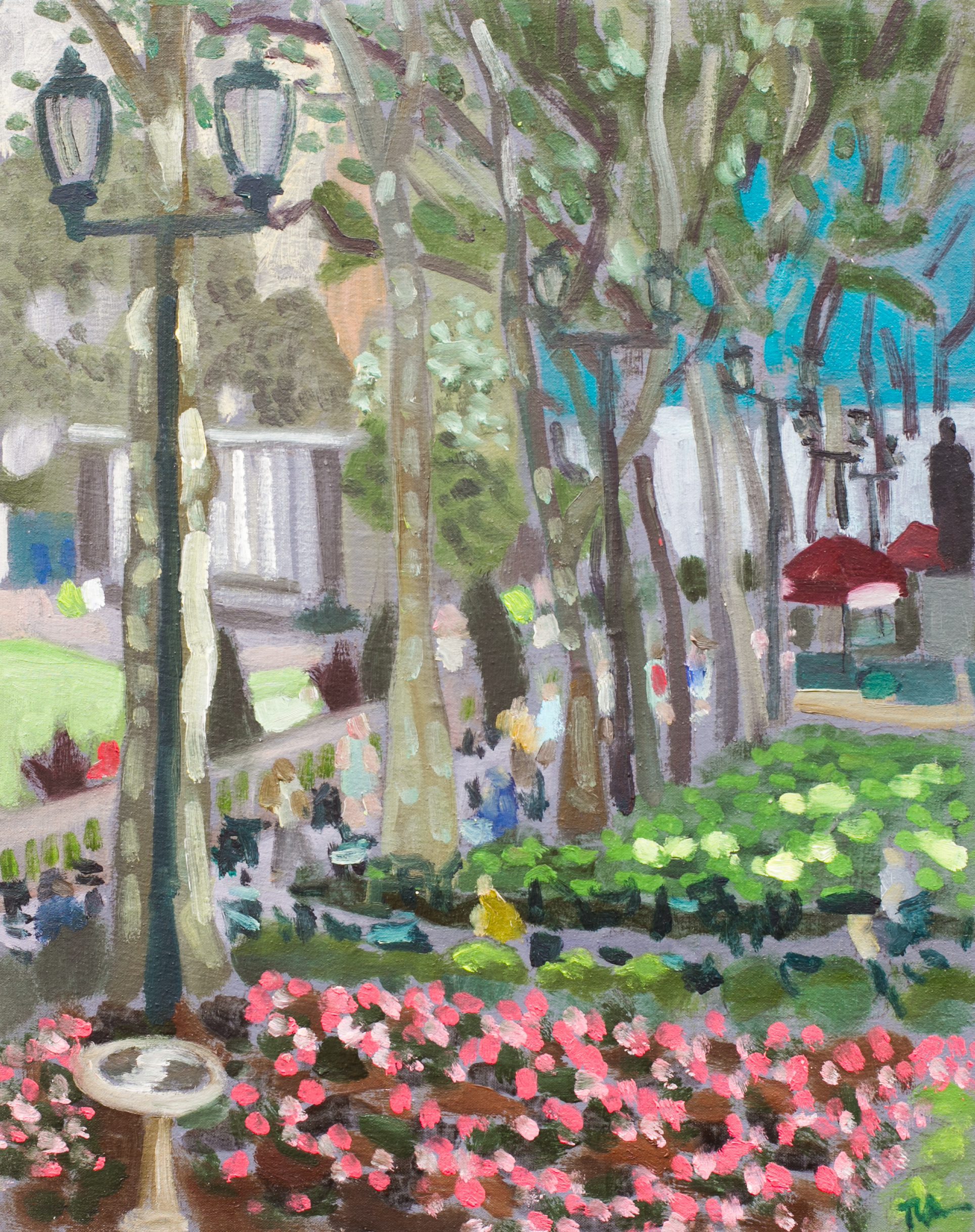 "Bryant Park #26 - July 13, 2016 - 12"" x 9 1/2"" - oil on panel"