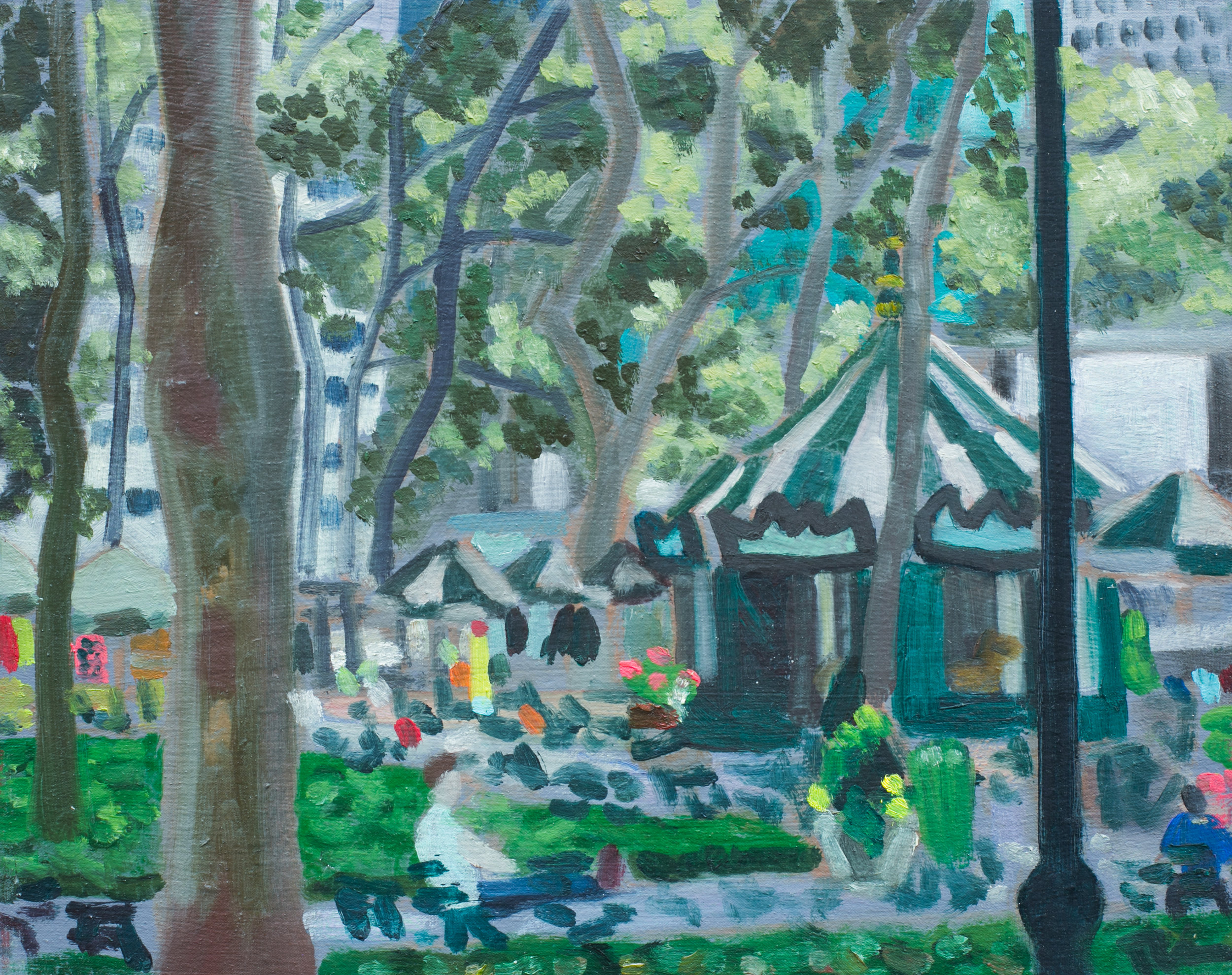 "Bryant Park #27 - July 14, 2016 - 9 1/2"" x 12"" - oil on panel"