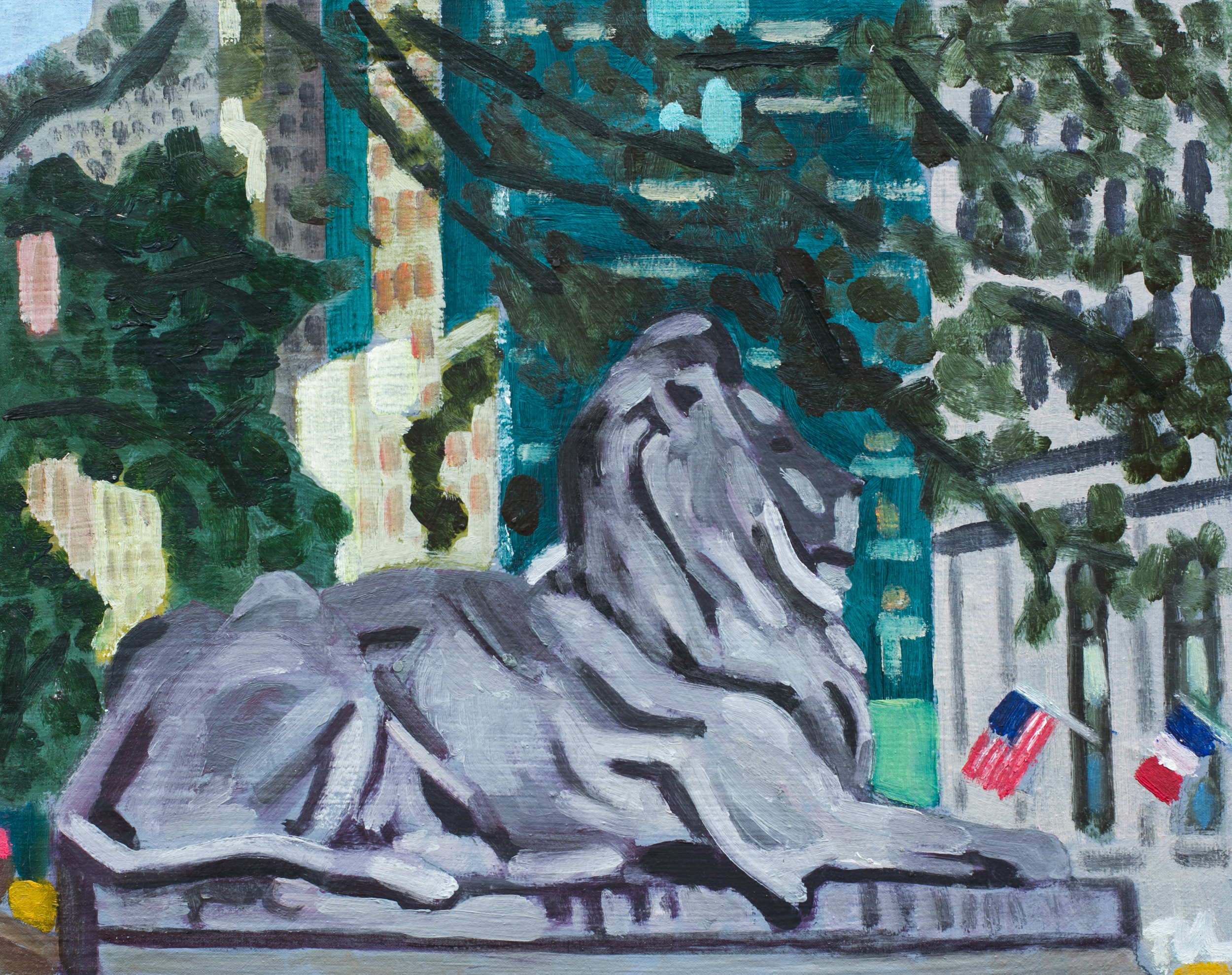 "Bryant Park #28 - July 15, 2016 - 9 1/2"" x 12"" - oil on panel"