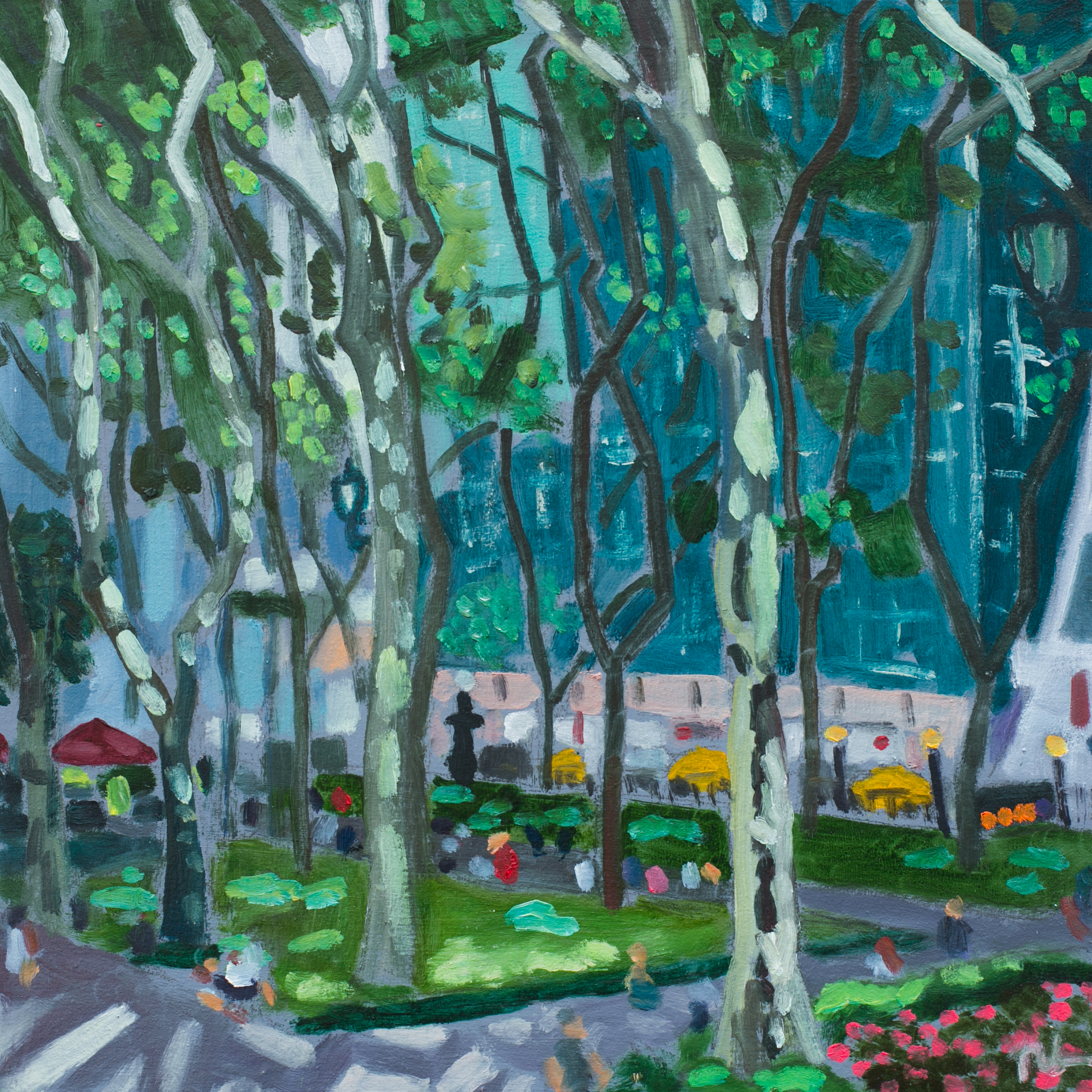 "Bryant Park #29 - July 20, 2016 - 12"" x 12"" - oil on panel"