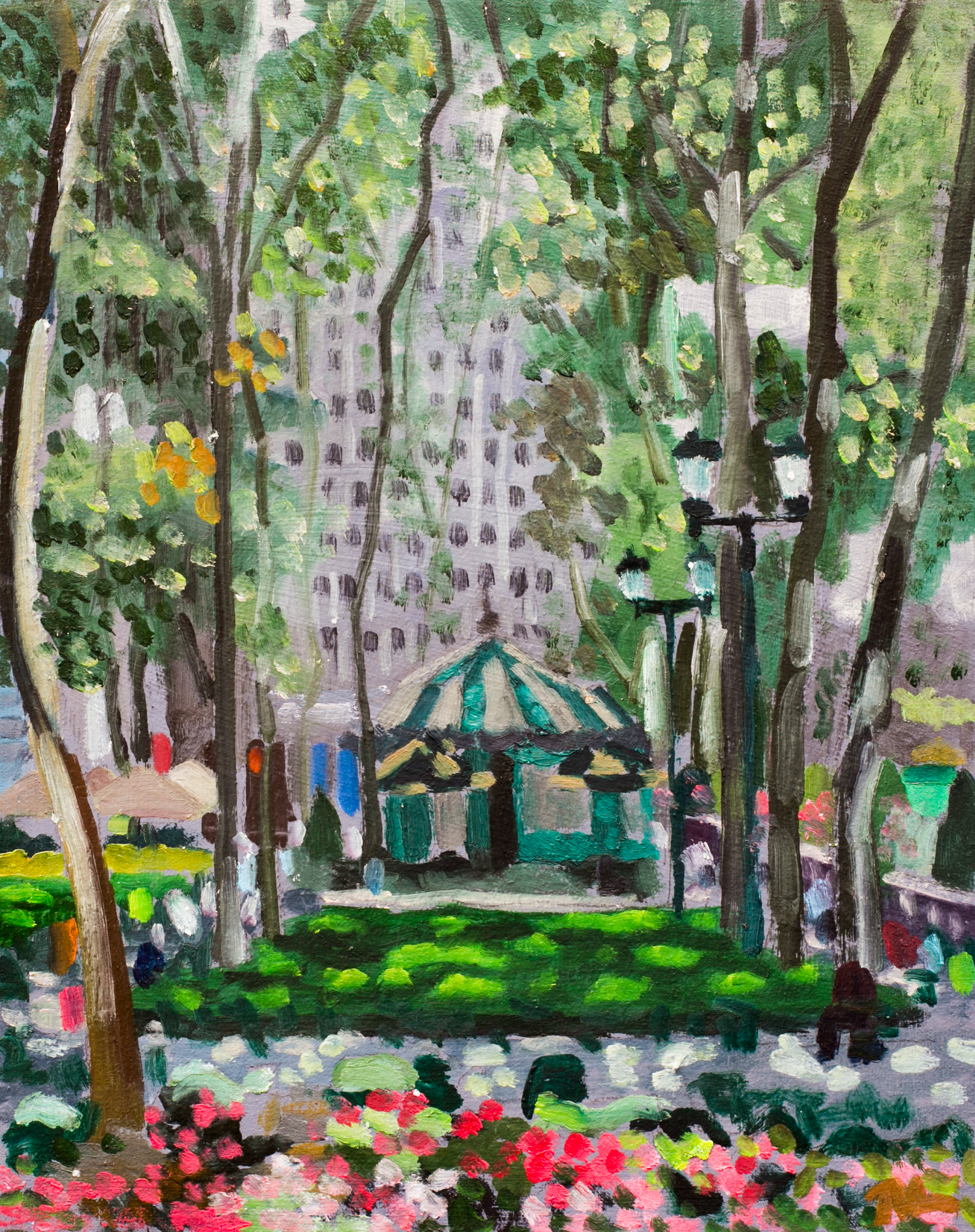 "Bryant Park #30 - July 31, 2016 - 12"" x 9 1/2"" - oil on panel"