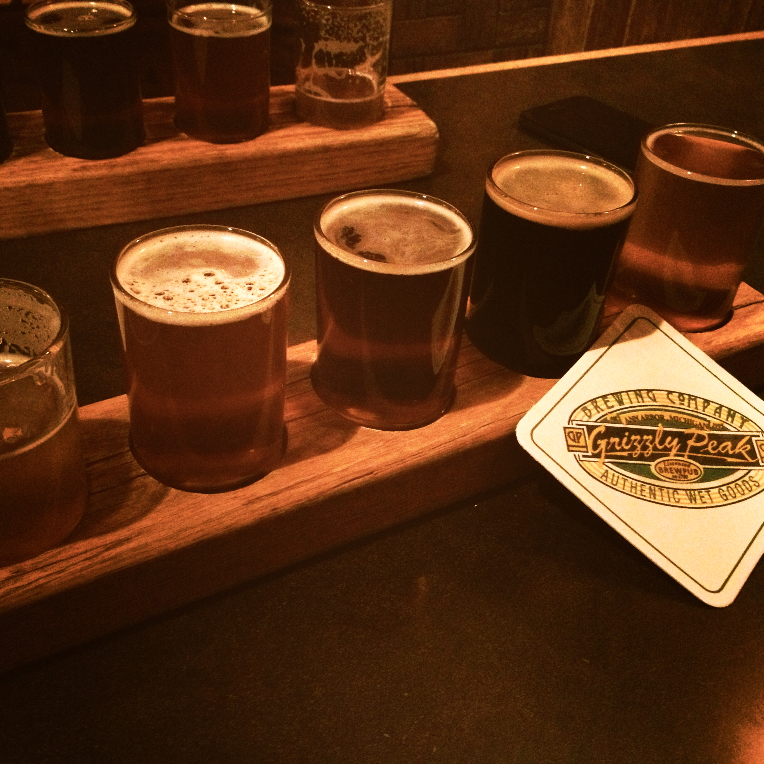 Grizzly Peak's beer flights, just crying out for consumption.