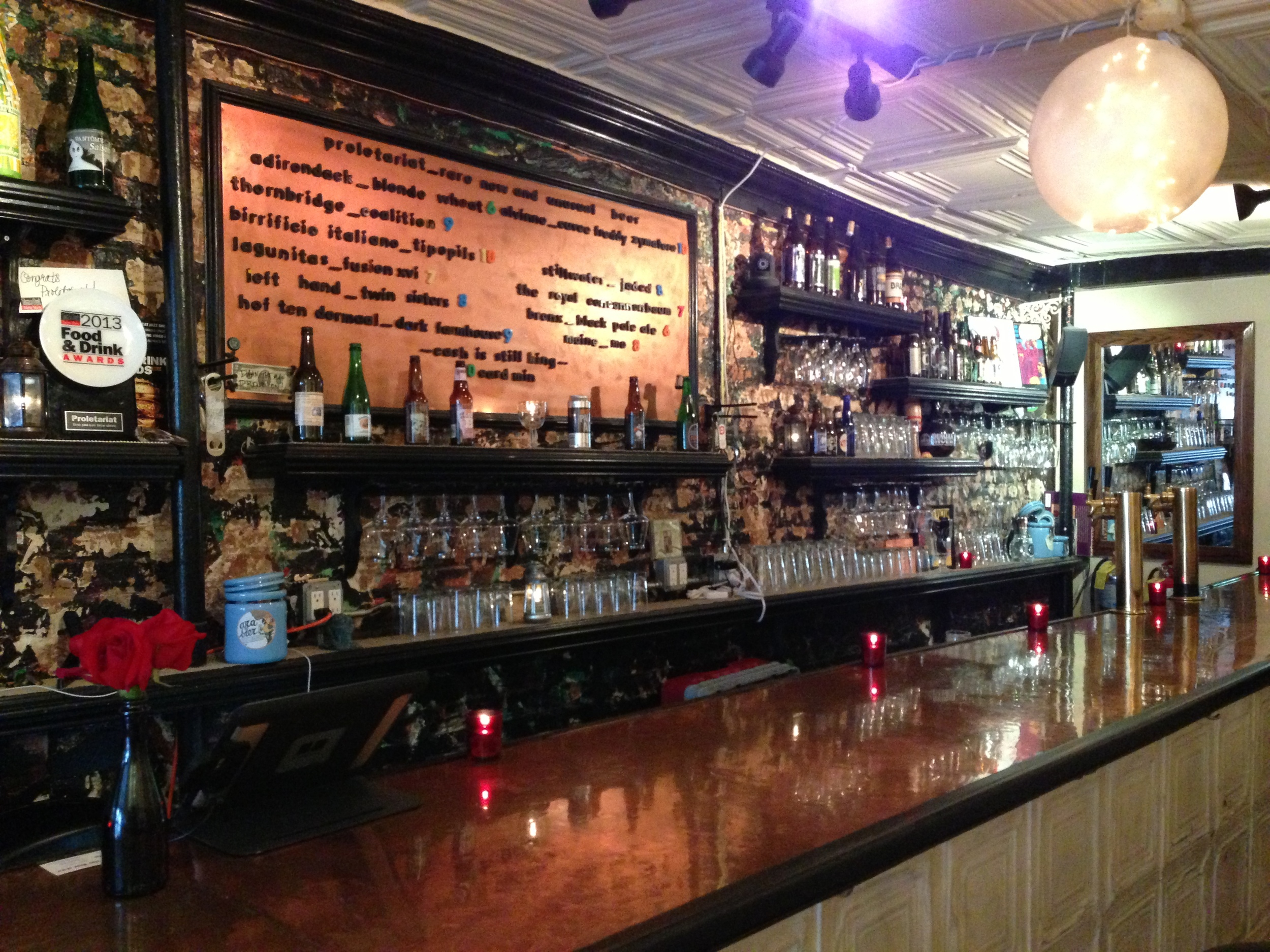 The constantly changing draught beer selection at Proletariat