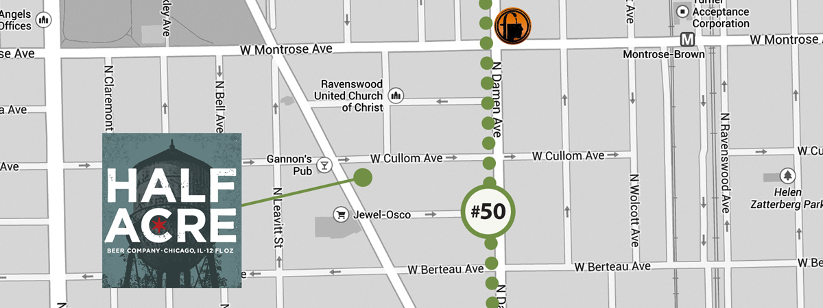 Skip the bus and walk a couple blocks southwest to the ever-popular Half Acre Tap Room.