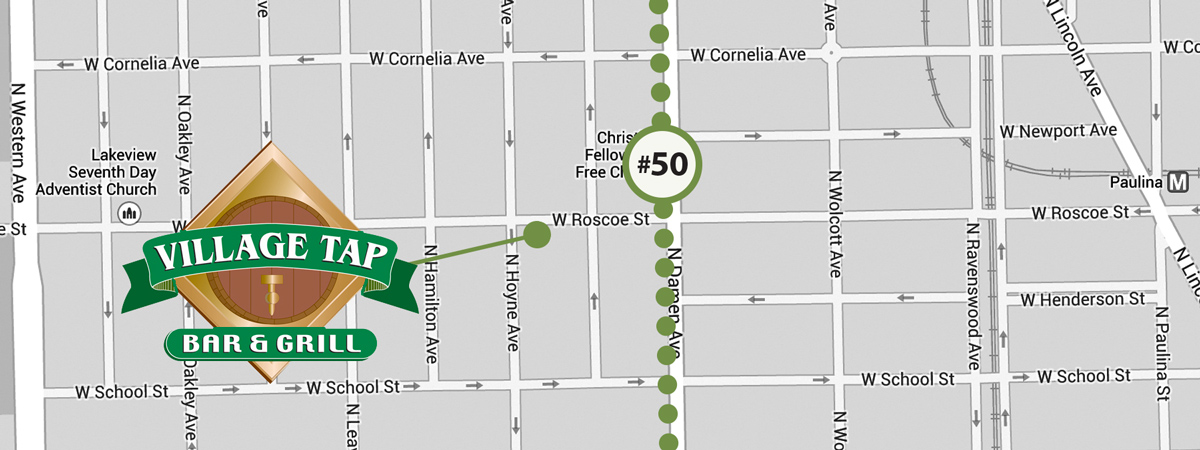 South on the #50 to Roscoe St. will land you another block or so from the Village's hidden gem, on Hoyne.