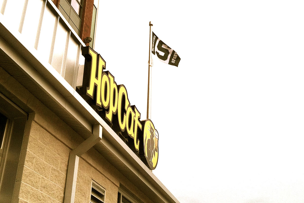 The new HopCat stands majestically above downtown East Lansing.